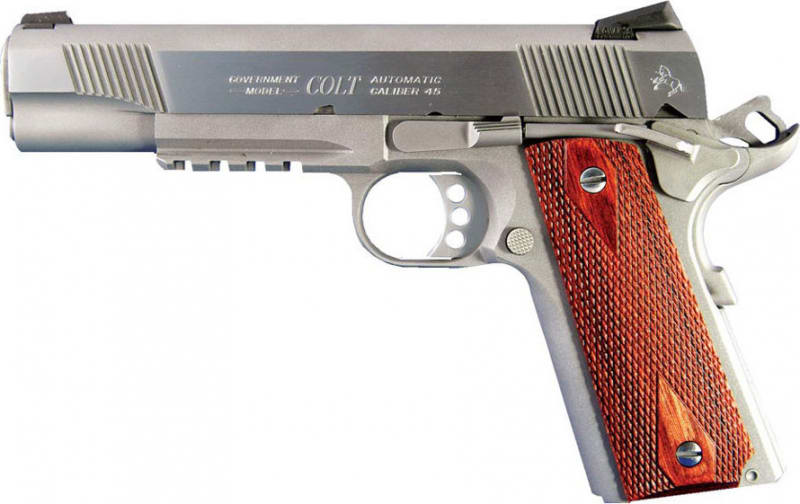 """Colt 1911 Rail Gun 45 ACP Pistol, 5"""" 8rd Stainless Steel - O1070RG"""