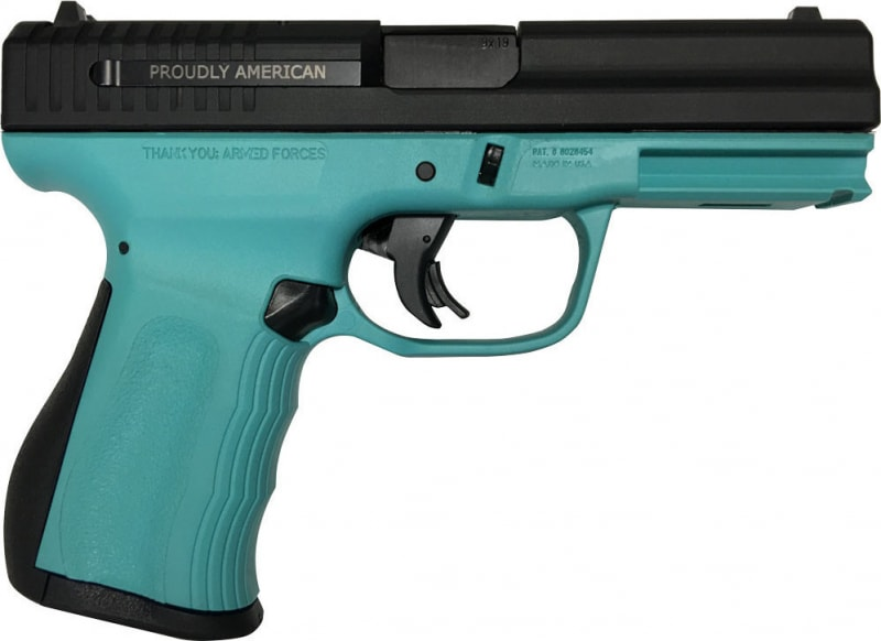 "FMK Firearms 9C1 G2 Fast Action Trigger 9mm Pistol,4"" Drop Free Magazines Robin Egg Blue - G9C1G2ETB"