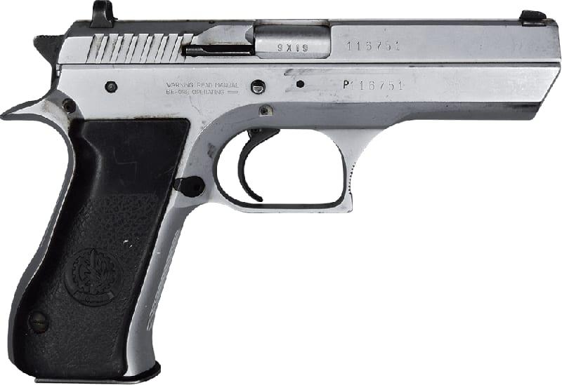 "IMI Jericho 941F 9mm Semi-Auto Pistol 4.5"" BBL, Satin Nickel Finish. 15 Rd - Israeli Made - Good Surplus Condition - With Police Star Markings"