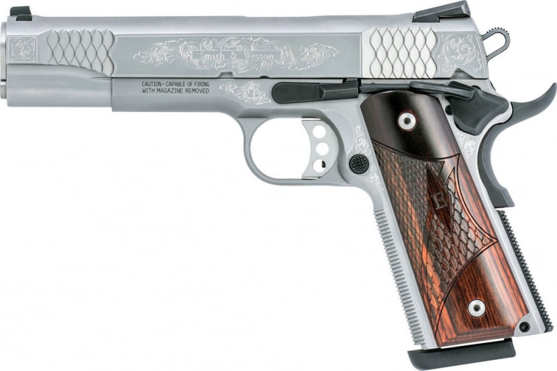 "Smith & Wesson 10270 1911 Engraved Single 45 ACP 5"" 8+1 Laminate Wood Grip Stainless Steel"