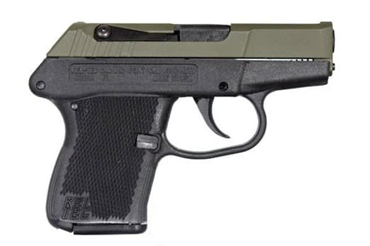 Kel-Tec P3ATGRNBLK P3AT Green Slide Black Grip 380 ACP Pistol 2.7 Barrel 6 Round
