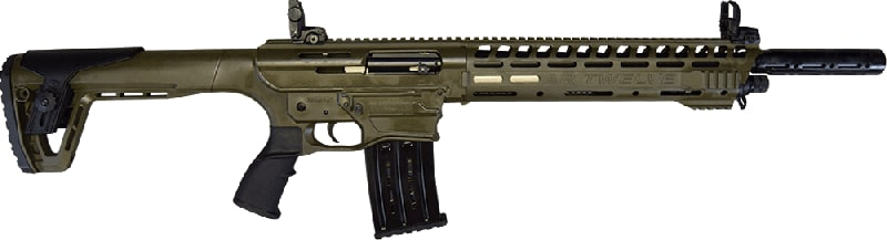 "AR-12 Semi Auto, AR-15 Style 12GA Shotgun by Panzer Arms of Turkey, 3"" Chambers - OD Green"