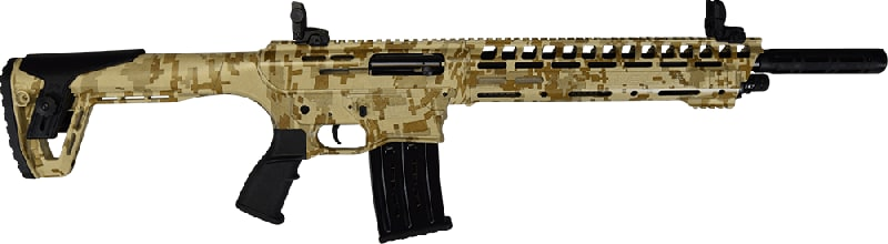 "AR-12 Semi Auto, AR-15 Style 12GA Shotgun by Panzer Arms of Turkey, 3"" Chambers - Special Desert Camo Cerakote Finish"
