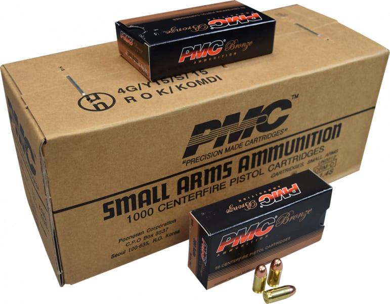 PMC 380A Bronze 1000 Rd Case - .380 Automatic Colt Pistol, Full Metal Jacket, 90 GR, Brass, Boxer, N/C, Re-loadable - 1000 Round case
