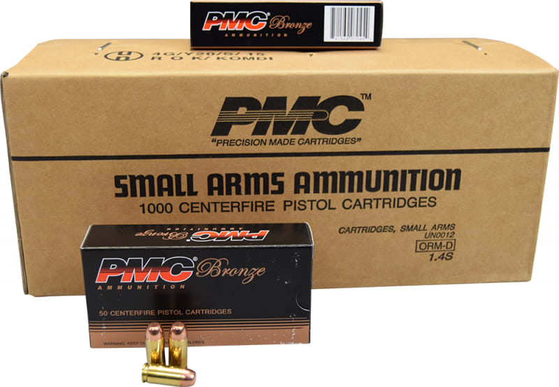 PMC 40D Bronze 40 Smith & Wesson Case - 165 GR Full Metal Jacket Flat Point - Brass, Boxer, Non-Corrosive - 1000 Rounds
