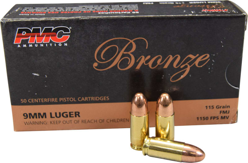 PMC 9A Bronze Target 9mm Ammunition 115 GR FMJ - 50 Round Box