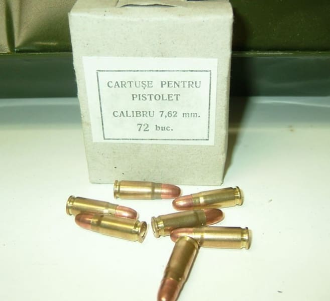 Romanian 7.62x25 86gr, Brass, Berdan, FMJ, 1980's Production Ammo - 72rd Box