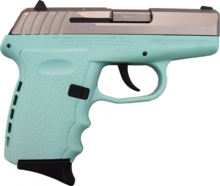 SCCY CPX-2 TTSB 9mm Polymer Frame Pistol, Satin Stainless Slide on Aqua Blue, DAO 10+1 w/ 2 Mags