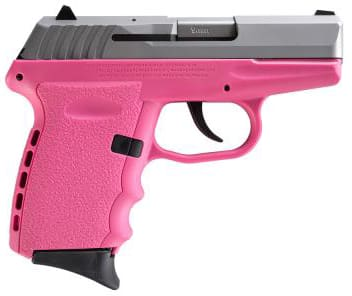SCCY CPX-2 TTPK 9mm Polymer Frame Pistol, Satin Stainless Slide on Pink, DAO 10+1 w/ 2 Mags