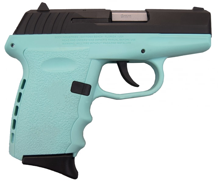 SCCY CPX-2 CBSB 9mm Polymer Frame Pistol, Blued Steel Slide on Aqua Blue Finish, DAO 10+1 w/ 2 Mags