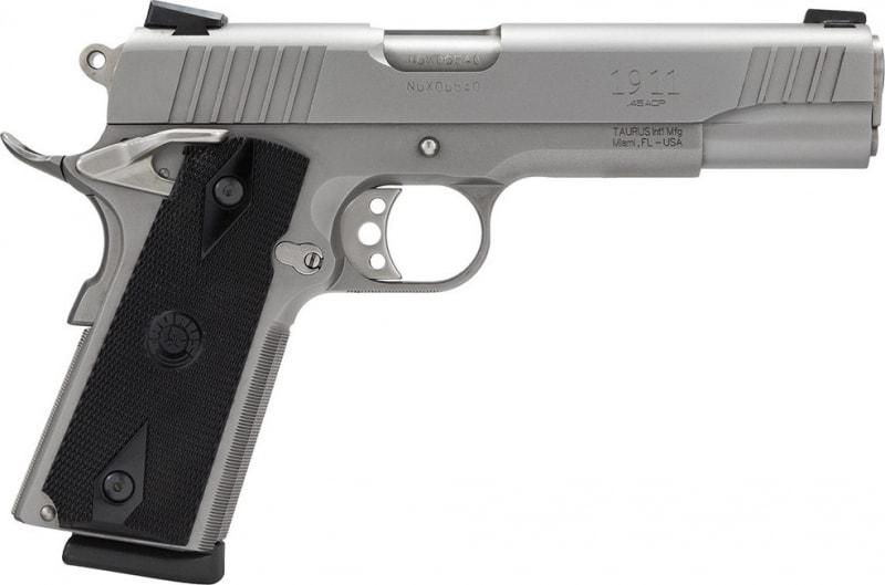 """Taurus PT1911S 45 ACP Pistol, 5"""" Stainless Steel - 1191109"""