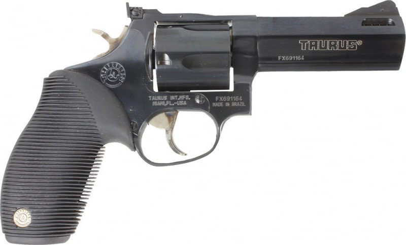 Taurus 44 Tracker 44RemMag Revolver, 4in Barrel Adj Sights Ported 5rd Ribber Grip Blued - 2440041TKR