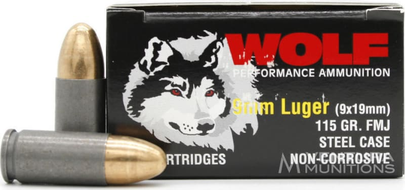 Wolf Performance 9mm 115 GR FMJ Ammo - Coated Steel Cases, Berdan Primed, Non-Corrosive - 1000rd Case
