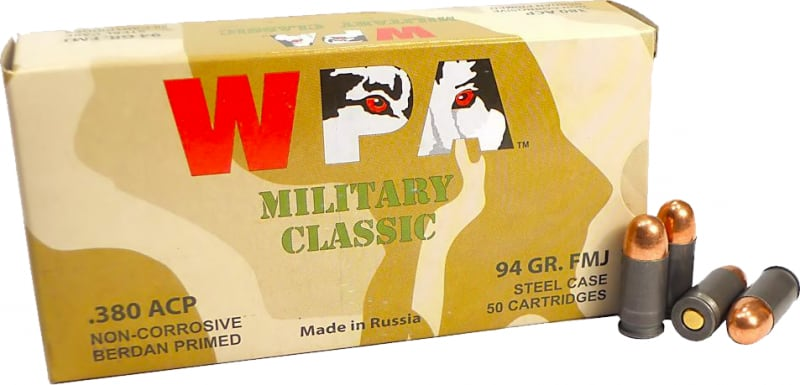 Wolf Military Classic .380 ACP 94 GR FMJ Ammo - 1000rd Case