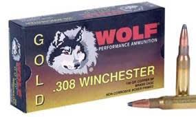 Wolf Gold .308 150 GR Brass Cased Soft Point Ammo - 20rd Box